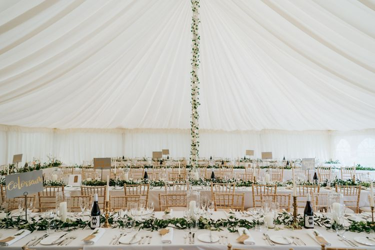 Marquee Wedding Reception Decor with Foliage Garlands and Fairy Lights