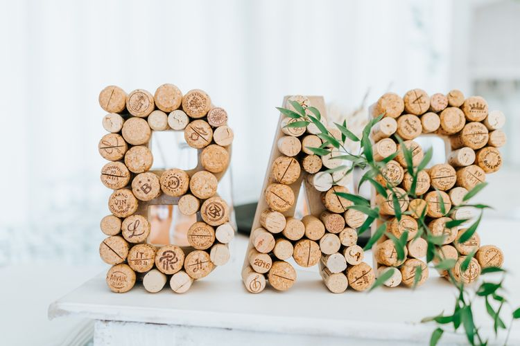 Corks Made into Bar Wedding Sign