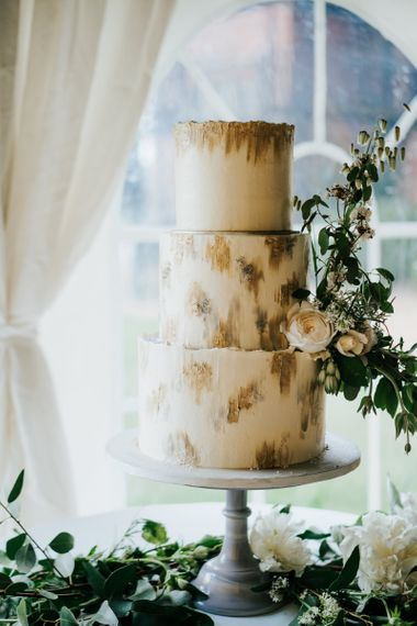 Three Tier Wedding Cake on Grey Cake Stand