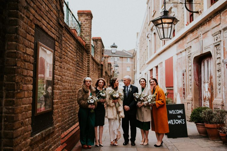 Bridal Party Standing Outside Wilton's Music Hall