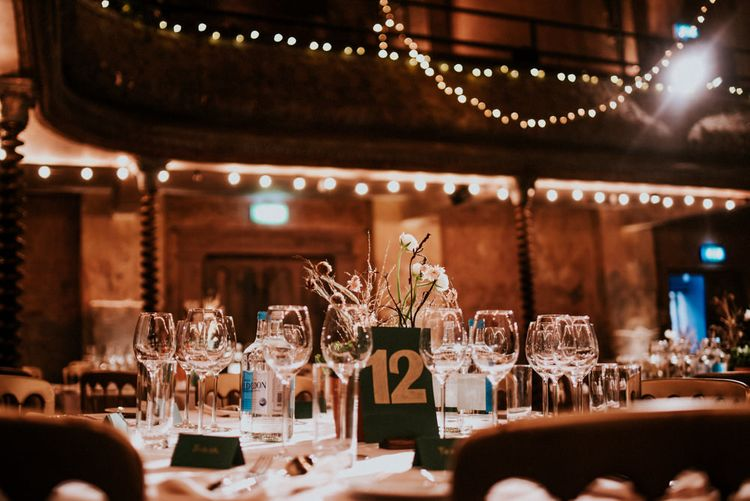 Wedding Reception at Wilton's Music Hall with Fairy Lights