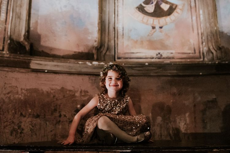 Flower Girl in Gold Sequin Dress and Flower Crown
