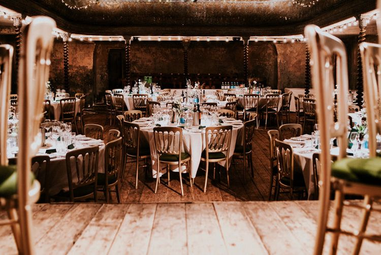 Wedding Reception Tables at Wilton's Music Hall