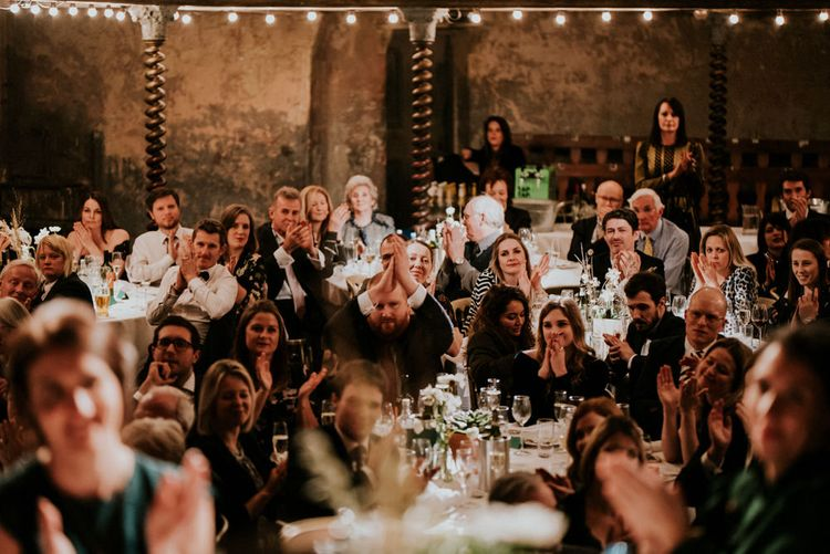 Wedding Guests Clapping at Wilton's Music Hall