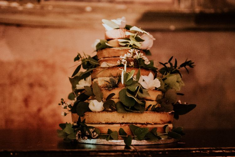 Waitrose Naked Wedding Cake  Decorated with Flowers