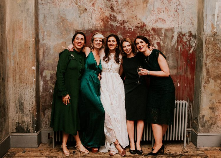 Bride in Grace Loves Lace Wedding Dress with her Best Girls