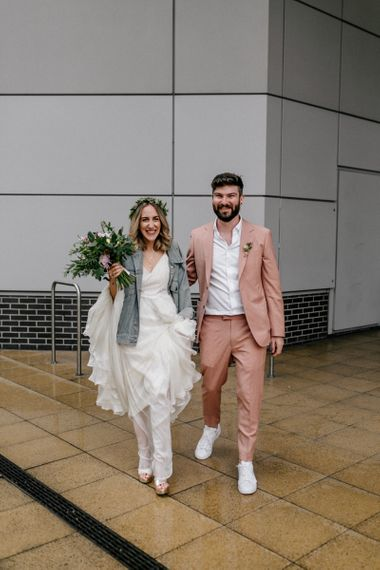 Stylish bride and groom at London micro wedding