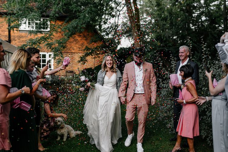 Colourful confetti moment at micro wedding