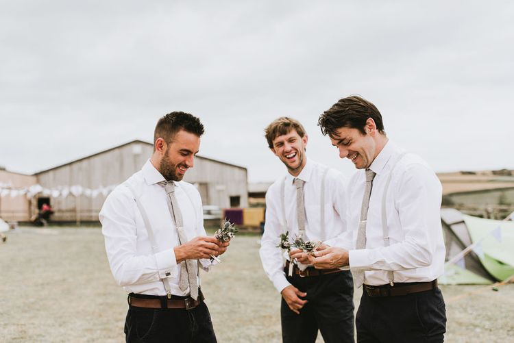 Groomsmen preparations for vegan wedding