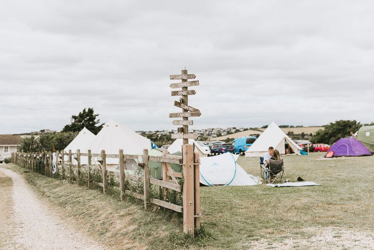 Festival themed wedding in Devon