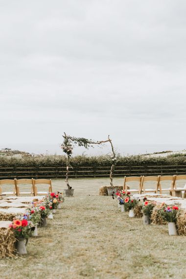 Aisle and altar decor at outdoor wedding