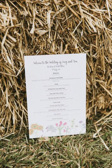 Order of the day at vegan wedding