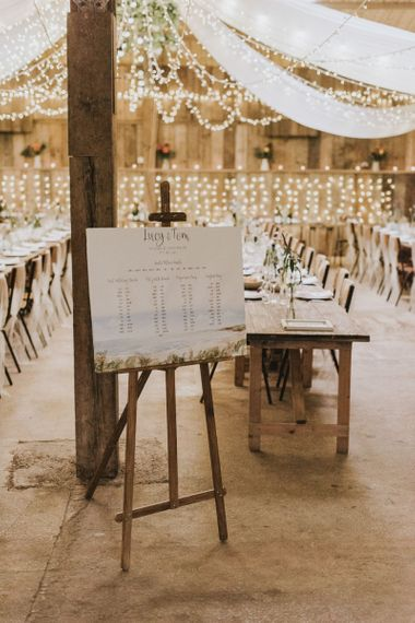 Seating chart for barn wedding with vegan wedding breakfast