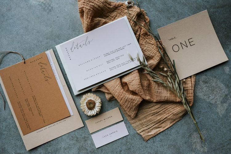 Minimalist Wedding Stationery with Dried Flowers Decor