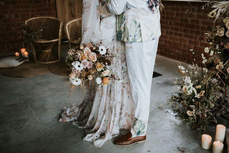 Bride in Rue De Seine Gown with Dried Flowers Bridal Bouquet