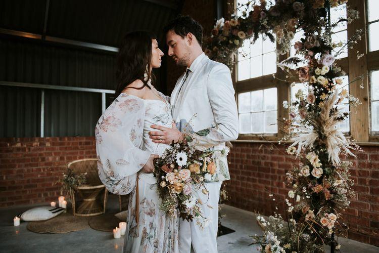 Bell Sleeve Rue de Seine Wedding Dress & Dried Flowers Wedding Bouquet
