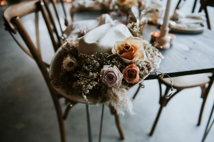 Cowboy Hat Bridal Accessory Decorated with Dried Flowers