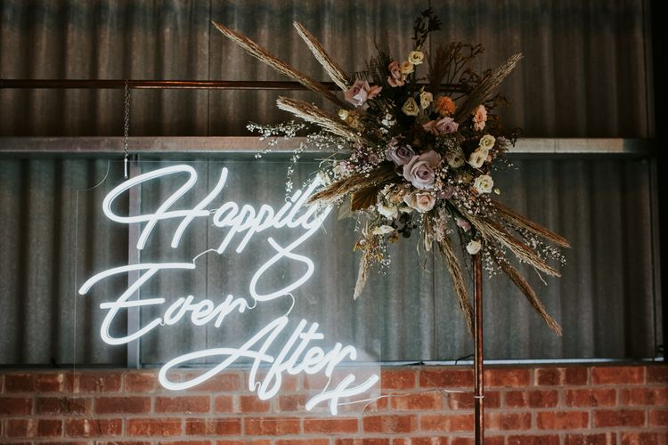 Happily Ever After Neon Sign on Copper Frame with Dried Flowers Decor