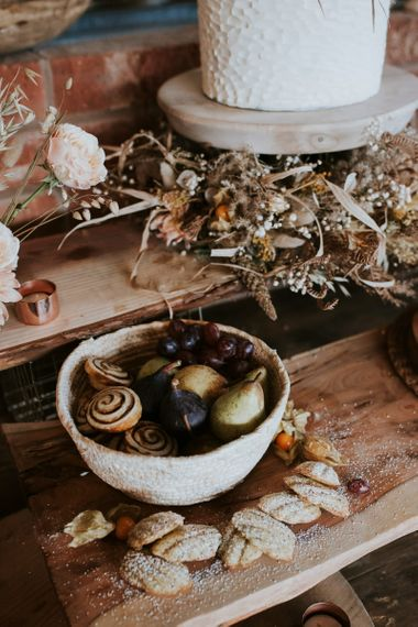 Pastry's and Fruit Table with Dried Flowers Wedding Decor