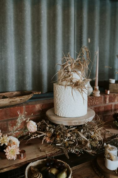Single Tier Wedding Cake with Dried Flowers Decor