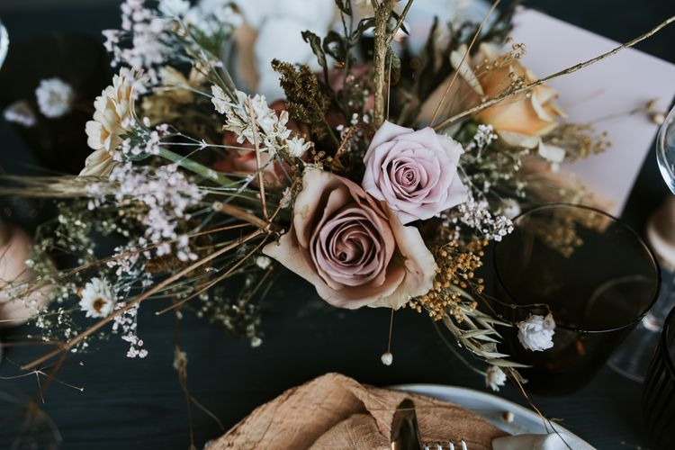 Blush Pink and Peach Rose Flowers mixed with Dried Flowers