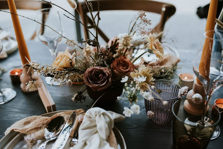 Cafe au Late Roses and Dried Flowers Floral Centrepiece