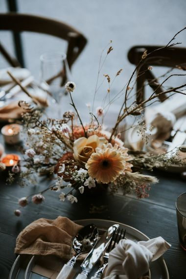 Peach Gerbera Wedding Flower in Floral Arrangement