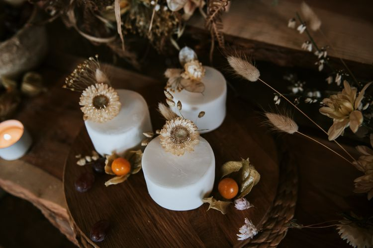 Three Miniature Single Tier Wedding Cakes for Dessert Table with Dried Flowers Decor