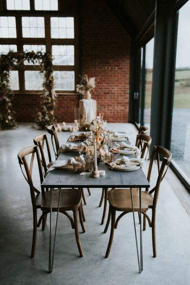 Reception Table Decor with Dried Flowers, Linens and Taper Candles