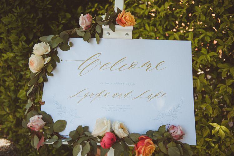 Welcome sign at Lake Como wedding
