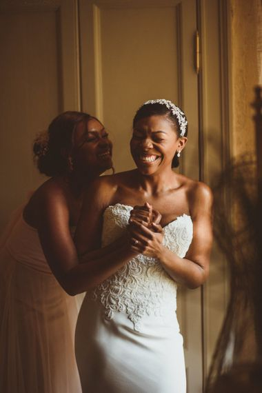 Bride in Justin Alexander bridal gown on wedding morning