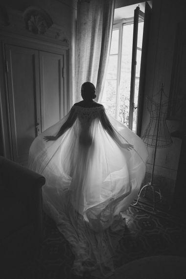 Justin Alexander bridal cape