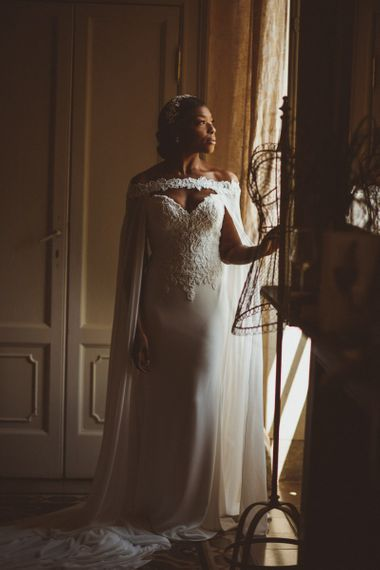 Justin Alexander wedding cape