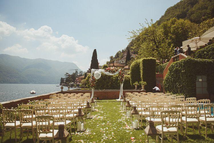 Outdoor ceremony for Lake Como wedding