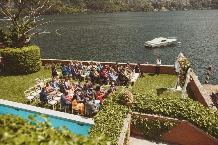 Lake Como outdoor wedding ceremony