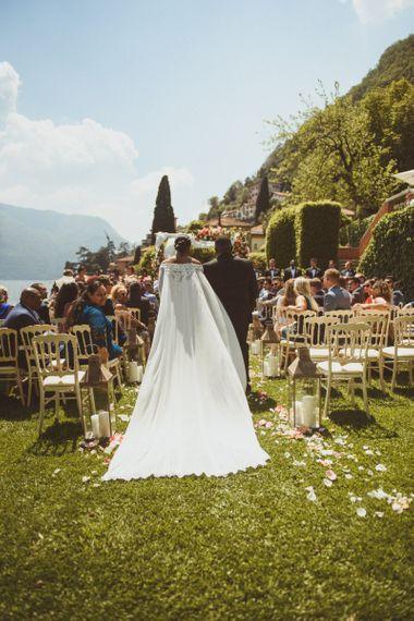 Lake como wedding ceremony with bride in cape