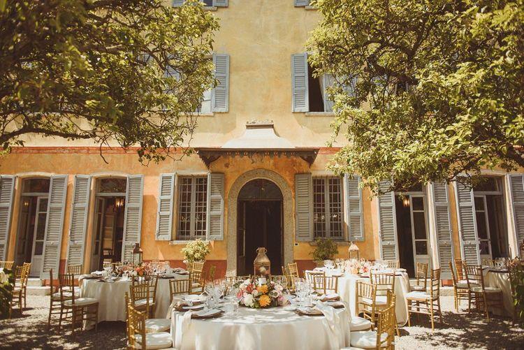 Lake Como, Villa Regina Teodolinda,  outdoor wedding reception