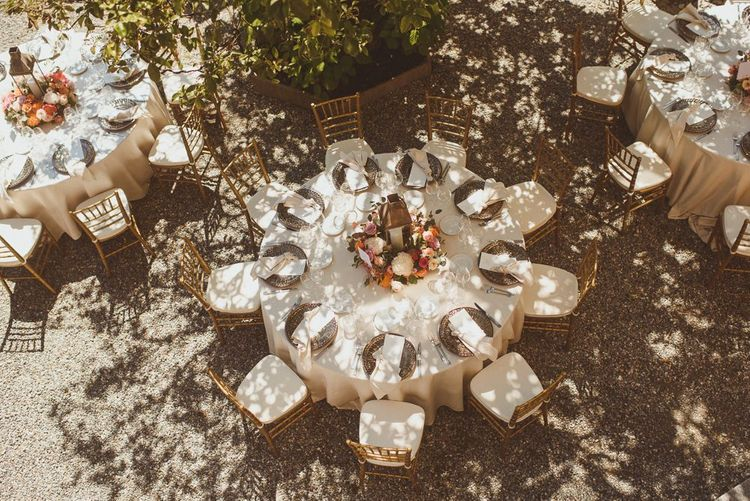 Round reception tables for Lake Como wedding