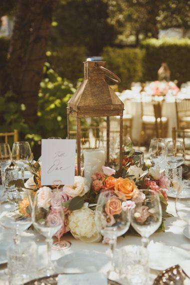 Lanterns and flower centrepieces