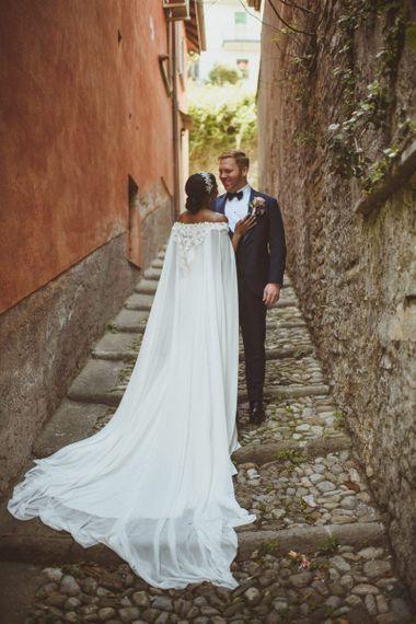Bridal cape for Lake Como wedding