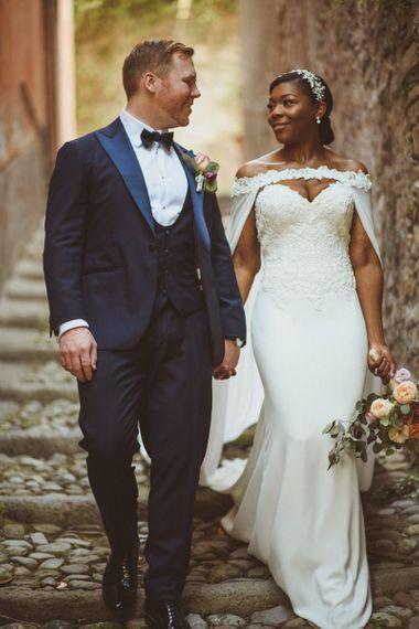 Bride and Groom portrait at Lake Como Wedding