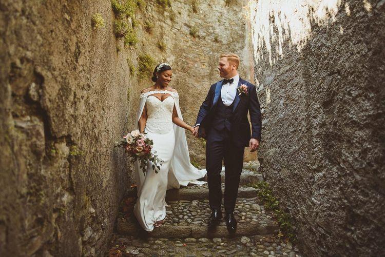 Lake Como wedding with bride and groom in black-tie attire