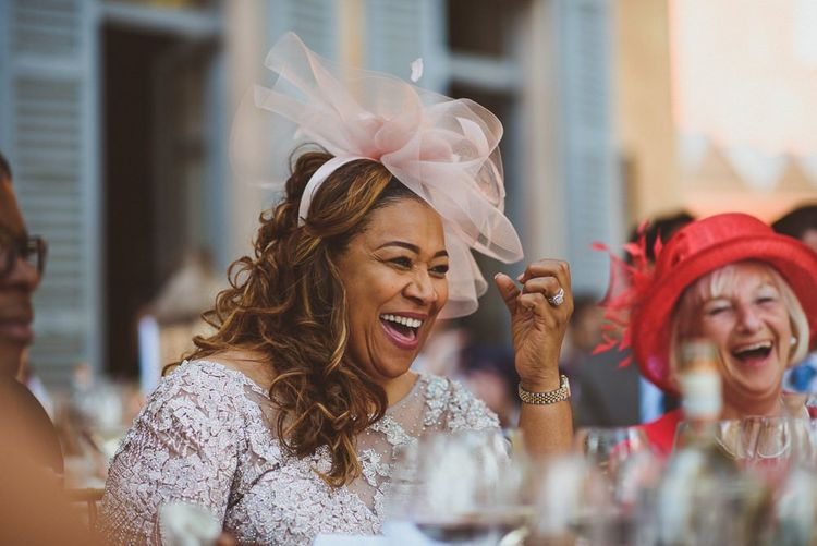 Mother of the bride laughing at Lake Como wedding