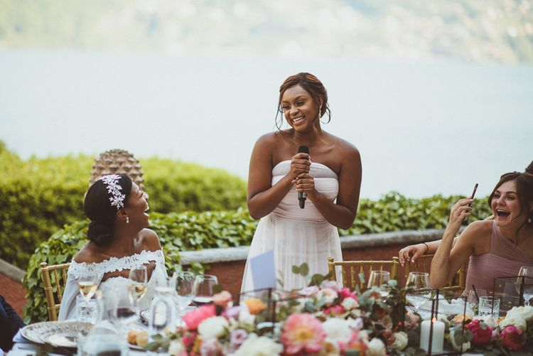Maid of Honour giving a wedding speech at Lake Como wedding