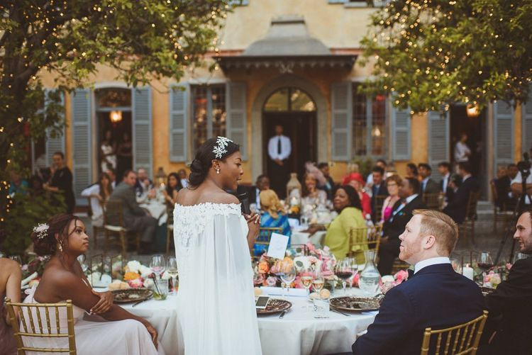 Bride giving at wedding speech at Lake Como wedding