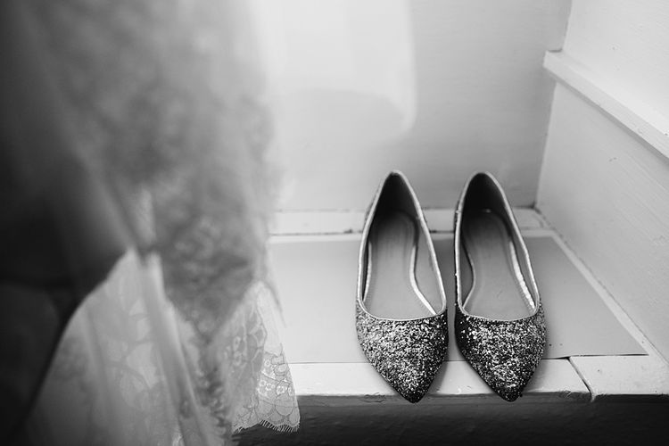 ASOS Ballet Pumps. Tipi Wedding at Home, Cumbria. Pale Dusky Pink, White and Mocha Flowers, Handwritten Details and Festoon Lights. Bride wears Essence of Australia Dress from Angelica Bridal. Groom wears Olive Next Suit and Tan Office Shoes.