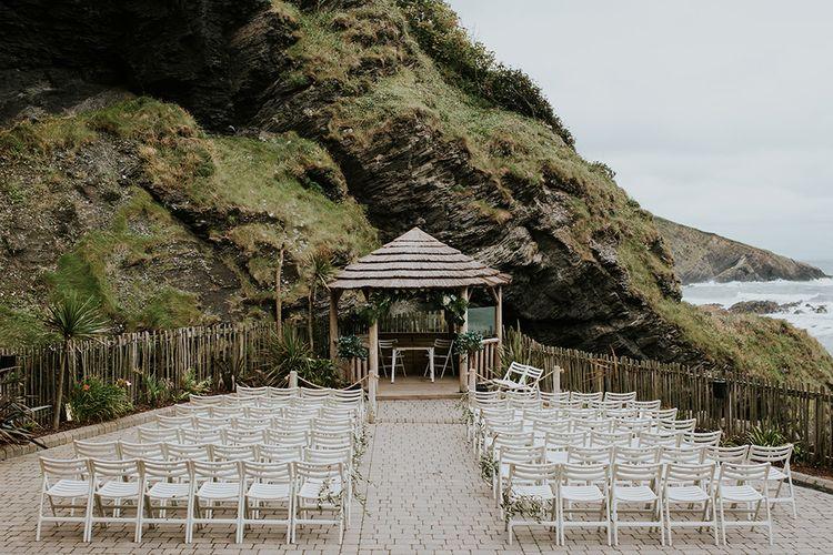 Outdoor Wedding Ceremony at Tunnels Beaches in Devon