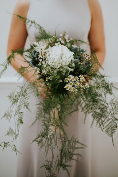 Hand Tied Foliage and Flower Bridesmaid Bouquet