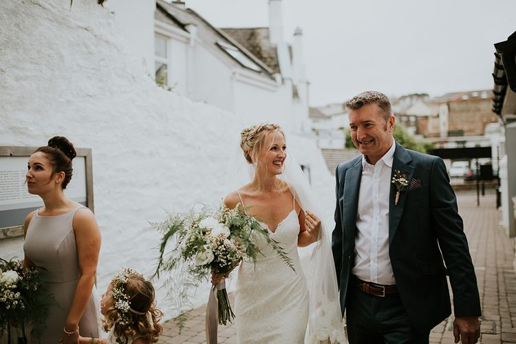 Bride in Lace Willowby by Watters Wedding Dress and Father of the Bride in Navy Wool Suit