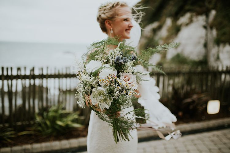 White and Green Wedding Bouquet with Foliage